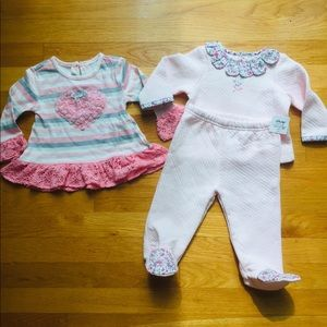 9month pink baby clothes lot nwot little me
